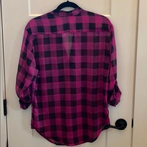 Xhilaration Tops - Xhilaration Pink And Black Plaid Tunic shirt
